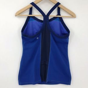 lululemon athletica Tops - Lululemon Tri Y Tank Top Blue Herringbone Trim 8